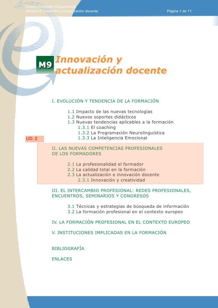 Curso: Formador Ocupacional.Módulo 9: Inovación y actualización docente                         Página 1 de 11            ...
