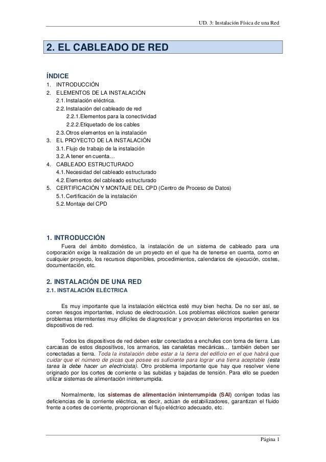UD. 3: Instalación Física de una Red Página 1 2. EL CABLEADO DE RED ÍNDICE 1. INTRODUCCIÓN 2. ELEMENTOS DE LA INSTALACIÓN ...
