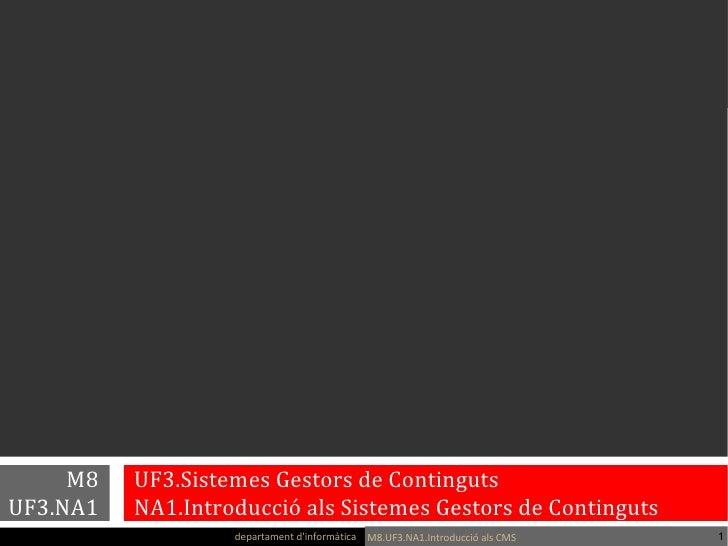M8        UF3.Sistemes Gestors de Continguts UF3.NA1        NA1.Introducció als Sistemes Gestors de Contingutsanna armengo...