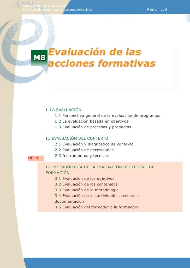 Curso: Formador Ocupacional.Módulo 8: Evaluación de las acciones formativas                   Página 1 de 5               ...