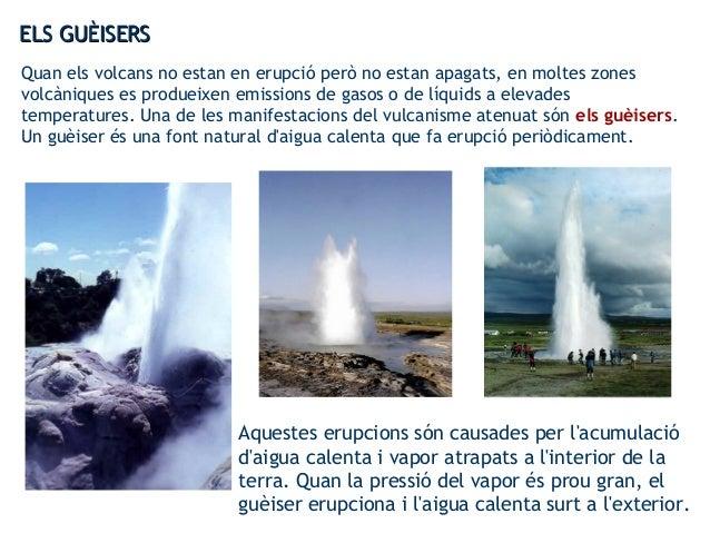 Quan els volcans no estan en erupció però no estan apagats, en moltes zones volcàniques es produeixen emissions de gasos o...