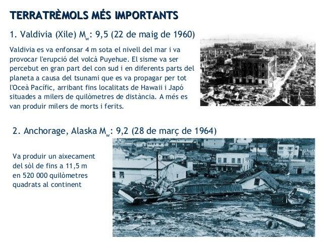 TERRATRÈMOLS MÉS IMPORTANTSTERRATRÈMOLS MÉS IMPORTANTS 4. Honshu (Japó) Mw : 9,0 (11 de març de 2011) Va provocar un tsuna...
