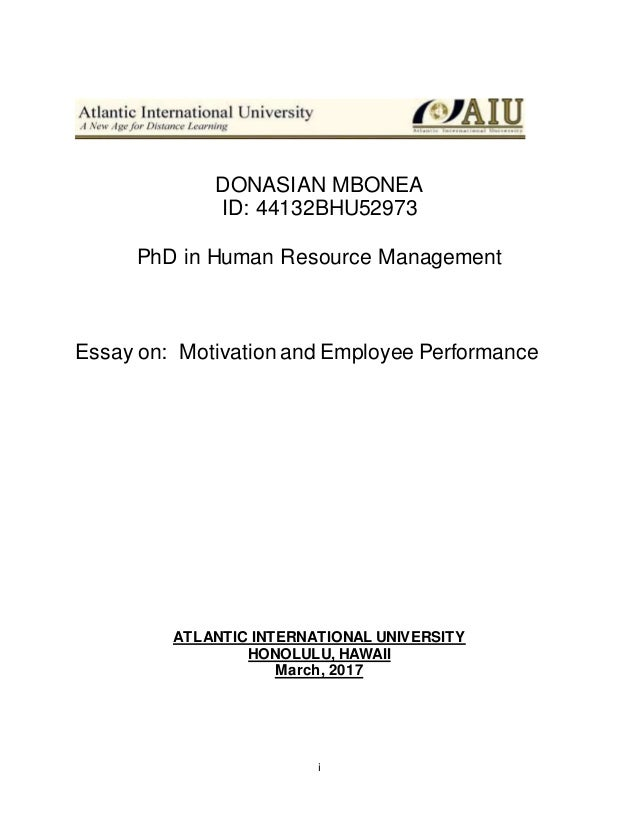 Help With Essay Papers I Donasian Mbonea Id Bhu Phd In Human Resource Management Essay  On Motivation And  Wonder Of Science Essay also Essay Papers Online Ud Bhu Essay On Motivation And Employee Performance  Proposal Essay Topics