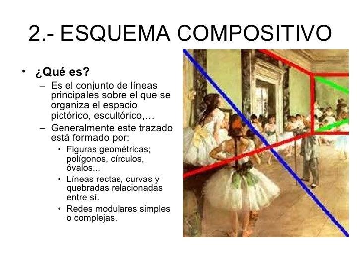2.- ESQUEMA COMPOSITIVO <ul><li>¿Qué es? </li></ul><ul><ul><li>Es el conjunto de líneas principales sobre el que se organi...