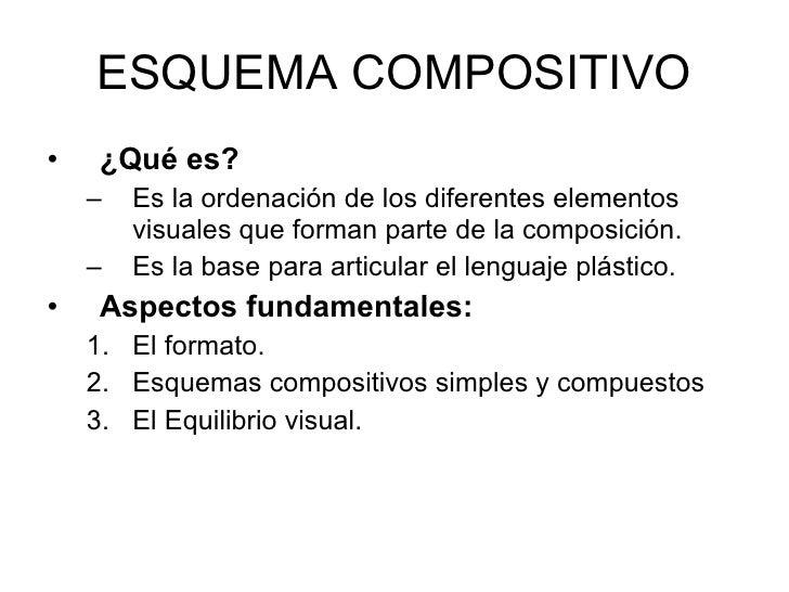 ESQUEMA COMPOSITIVO <ul><li>¿Qué es? </li></ul><ul><ul><li>Es la ordenación de los diferentes elementos visuales que forma...