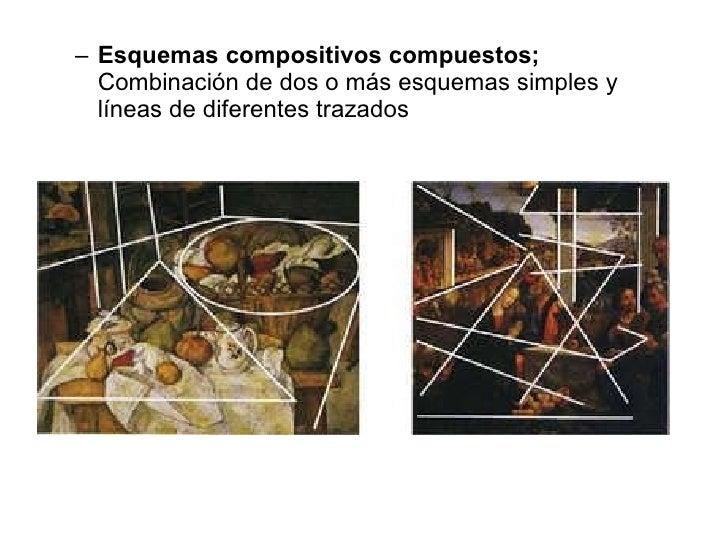 <ul><ul><li>Esquemas compositivos compuestos;  Combinación de dos o más esquemas simples y líneas de diferentes trazados <...
