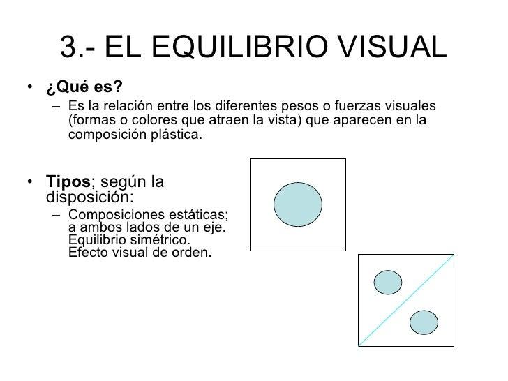 3.- EL EQUILIBRIO VISUAL <ul><li>¿Qué es? </li></ul><ul><ul><li>Es la relación entre los diferentes pesos o fuerzas visual...