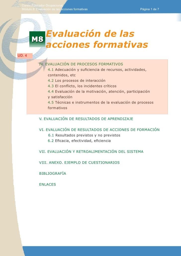 Curso: Formador Ocupacional.  Módulo 8: Evaluación de las acciones formativas                  Página 1 de 7              ...
