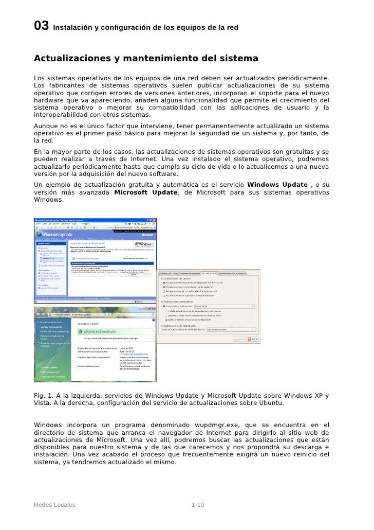 03 Instalación y configuración de los equipos de la redActualizaciones y mantenimiento del sistemaLos sistemas operativos ...