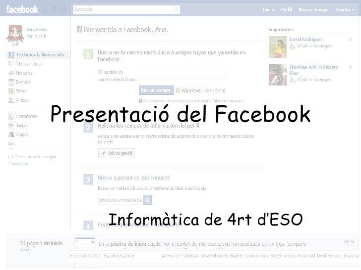 Presentació del Facebook Informàtica de 4rt d'ESO