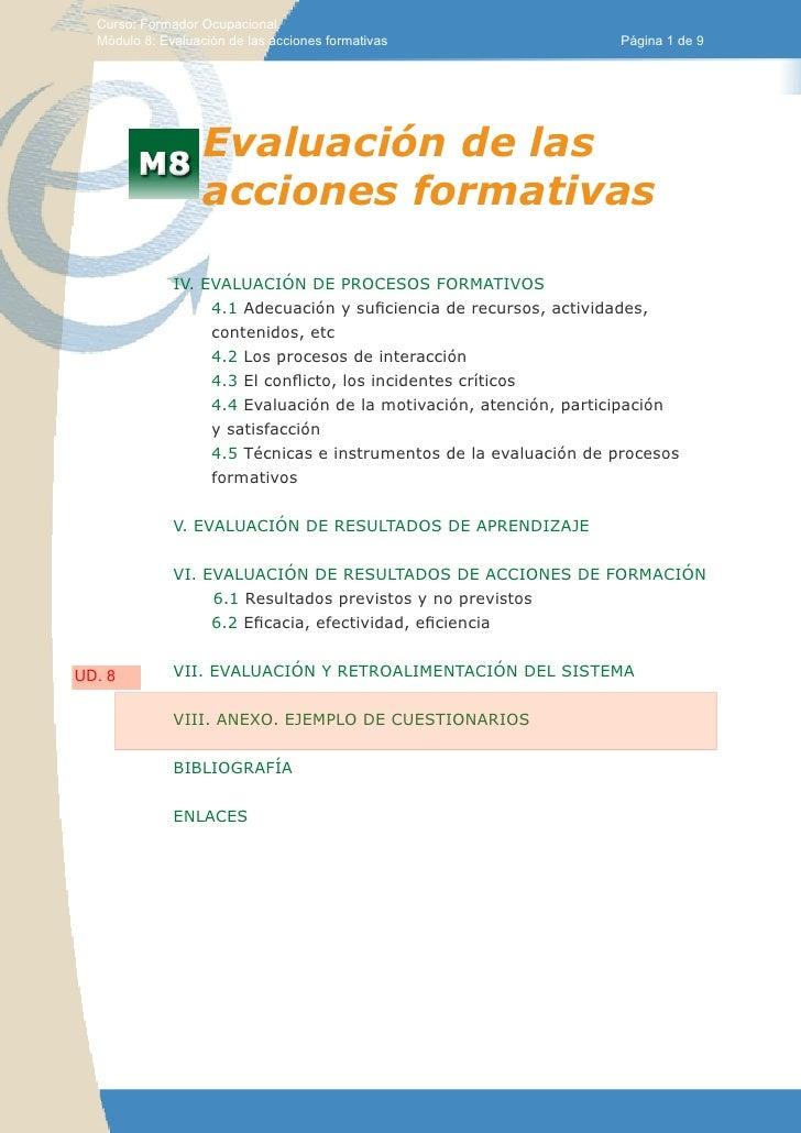 Curso: Formador Ocupacional.  Módulo 8: Evaluación de las acciones formativas                  Página 1 de 9              ...