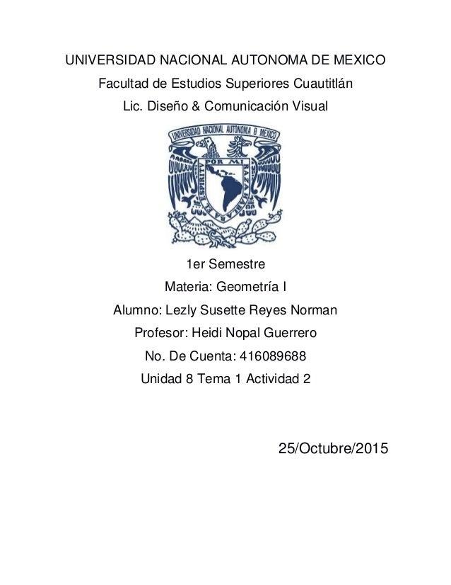 UNIVERSIDAD NACIONAL AUTONOMA DE MEXICO Facultad de Estudios Superiores Cuautitlán Lic. Diseño & Comunicación Visual 1er S...