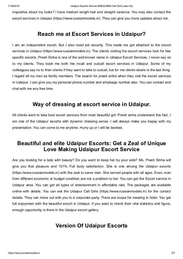 Udaipur escorts service Udaipur call girls lake city Slide 2