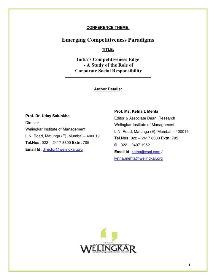 CONFERENCE THEME:                    Emerging Competitiveness Paradigms                                           TITLE:  ...
