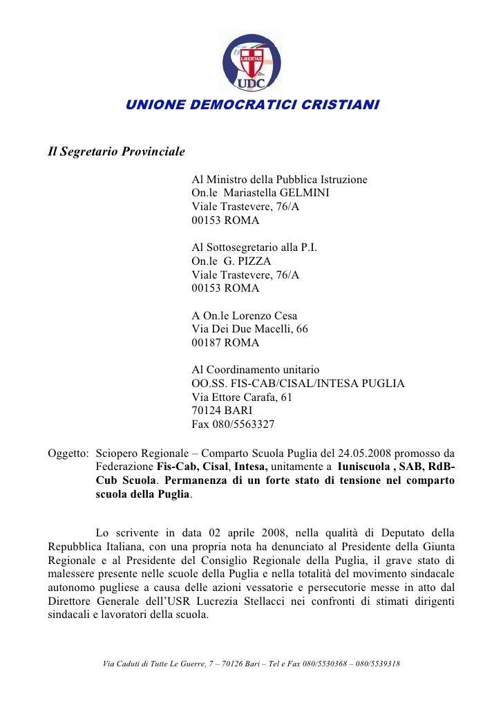 UNIONE DEMOCRATICI CRISTIANI   Il Segretario Provinciale                                     Al Ministro della Pubblica Is...