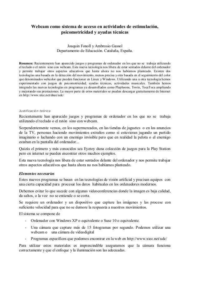 Webcam como sistema de acceso en actividades de estimulación, psicomotricidad y ayudas técnicas Joaquin Fonoll y Ambrosio ...