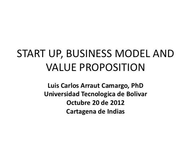 START UP, BUSINESS MODEL AND     VALUE PROPOSITION     Luis Carlos Arraut Camargo, PhD    Universidad Tecnologica de Boliv...