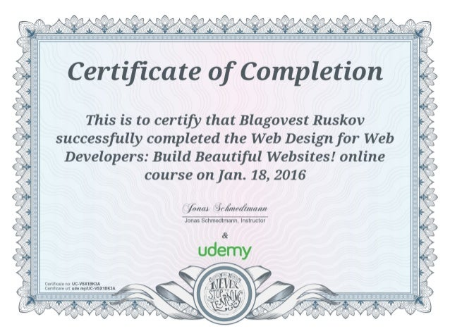 udemy certificate web design for web developers