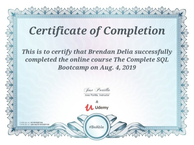 udemy certificate sql completion course complete certification