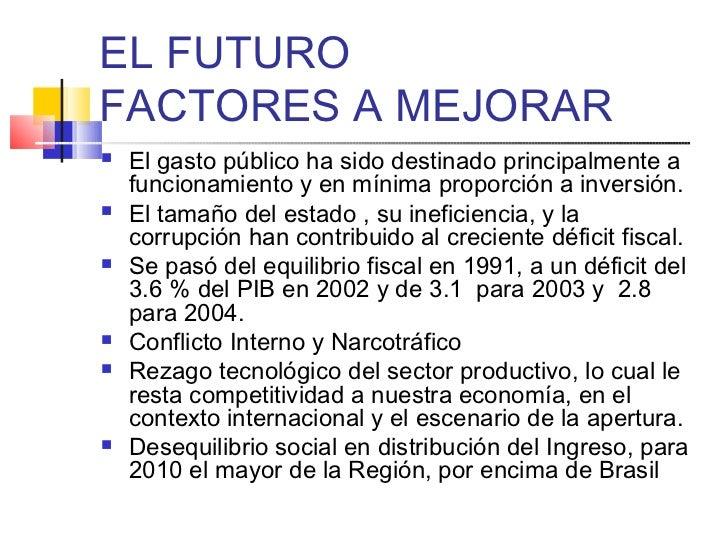 EL FUTUROFACTORES A MEJORAR   El gasto público ha sido destinado principalmente a    funcionamiento y en mínima proporció...