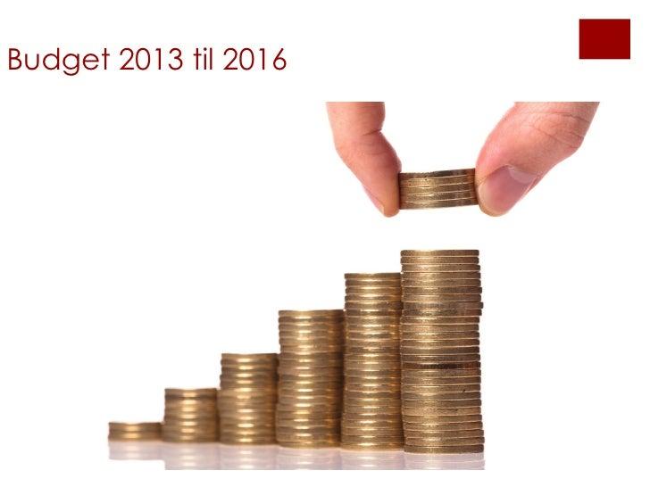 Budget 2013 til 2016