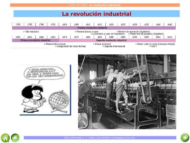 CCSS (4º ESO): La revolución industrial.  La revolución industrial  IES Lacimurga C. I. (http://javier2pm-cs.blogspot.com....