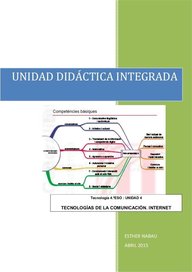 ESTHER NABAU ABRIL 2015 UNIDAD DIDÁCTICA INTEGRADA Tecnología 4.ºESO : UNIDAD 4 TECNOLOGÍAS DE LA COMUNICACIÓN. INTERNET