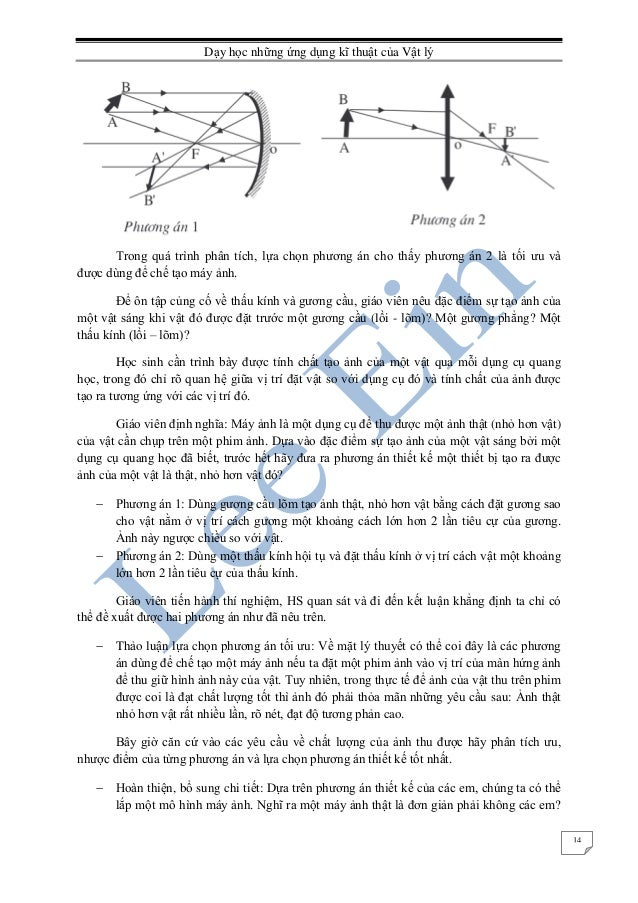 Dạy học những ứng dụng kĩ thuật của Vật lý 14 Trong quá trình phân tích, lựa chọn phương án cho thấy phương án 2 là tối ưu...