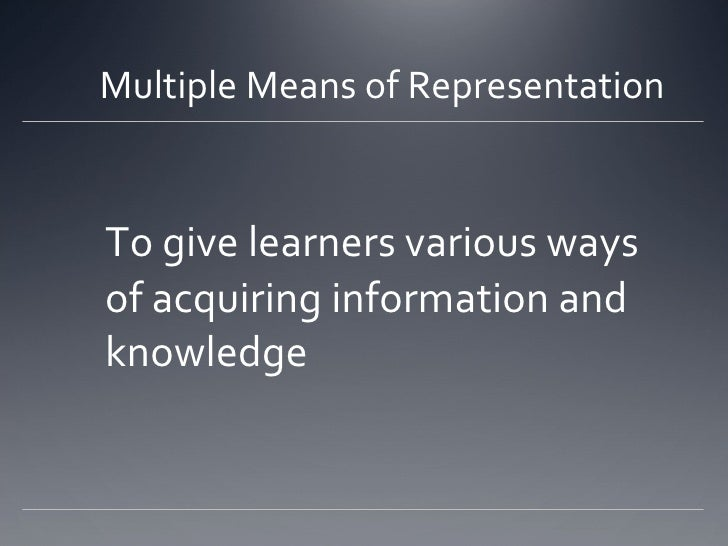 Multiple Means of Representation <ul><li>To give learners various ways of acquiring information and knowledge </li></ul>