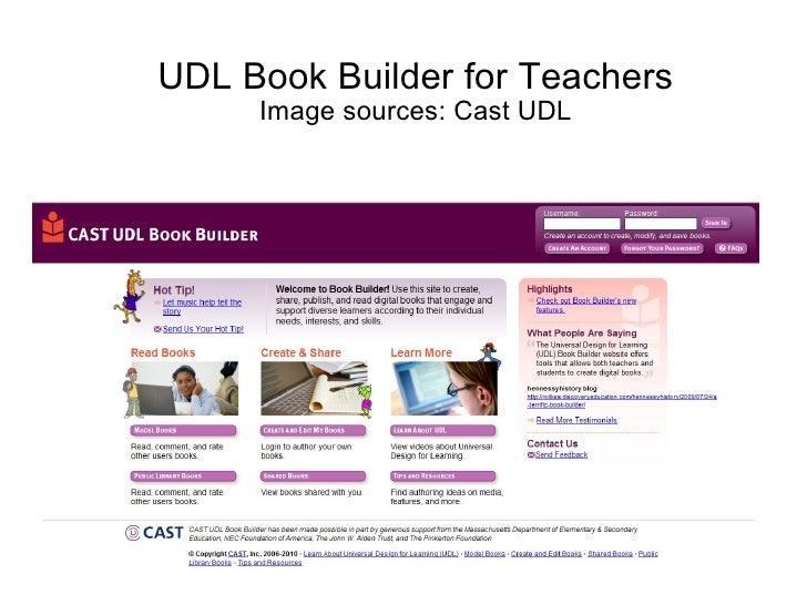 UDL Book Builder for Teachers Image sources: Cast UDL