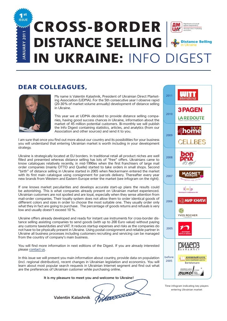 1stISSUE  JANUARY 2011                 CROSS-BORDER                 DISTANCE SELLING                 IN UKRAINE: INFO DIGE...