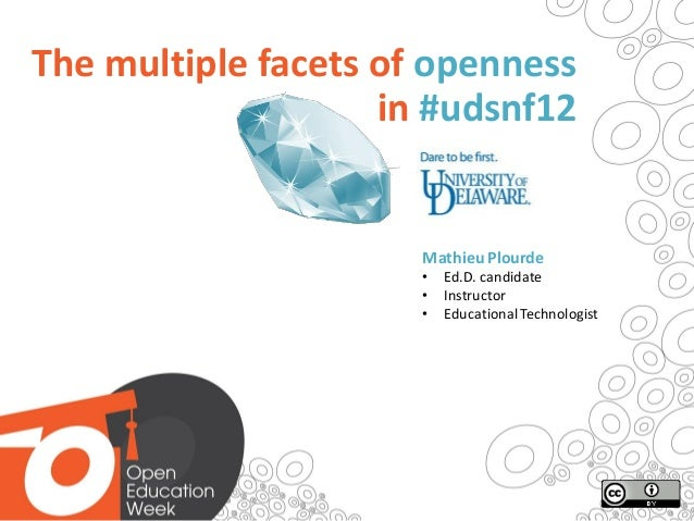 The multiple facets of openness                    in #udsnf12                      Mathieu Plourde                      •...