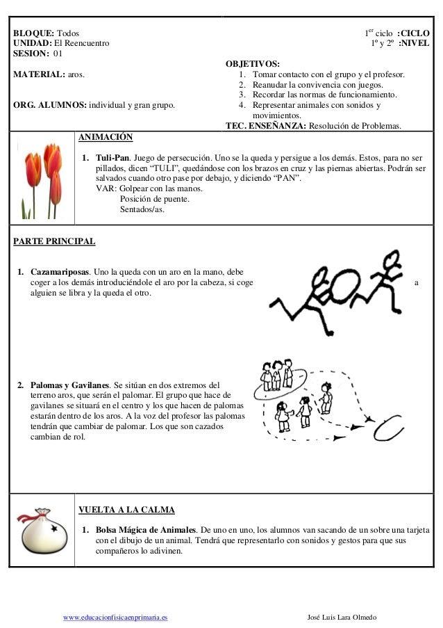 www.educacionfisicaenprimaria.es José Luis Lara Olmedo BLOQUE: Todos UNIDAD: El Reencuentro SESION: 01 MATERIAL: aros. ORG...