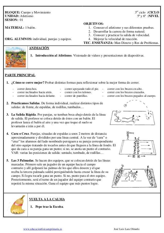 www.educacionfisicaenprimaria.es José Luis Lara Olmedo BLOQUE: Cuerpo y Movimiento UNIDAD: Atletismo SESION: 01 MATERIAL: ...