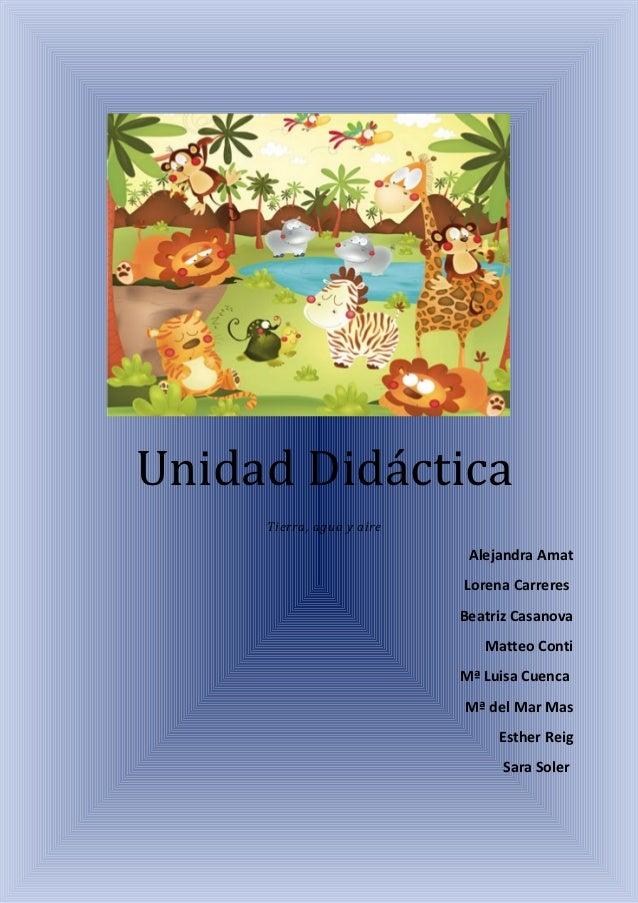 Unidad Didáctica     Tierra, agua y aire                            Alejandra Amat                           Lorena Carrer...