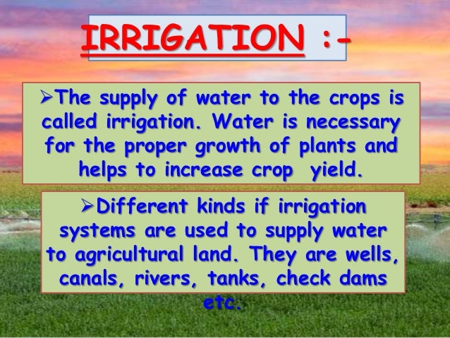 Irrigation improvement in food resources class ixth for Cuisine resources