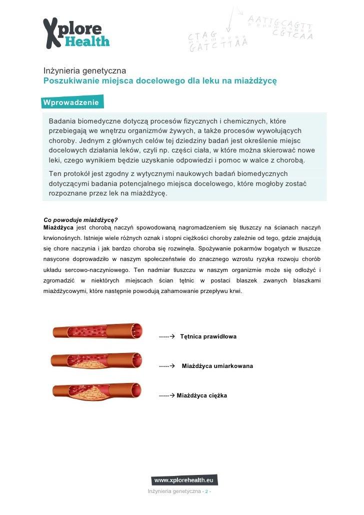 InŜynieria genetycznaPoszukiwanie miejsca docelowego dla leku na miaŜdŜycęWprowadzenie  Badania biomedyczne dotyczą proces...