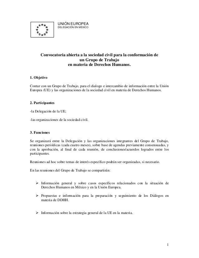 UNIÓN EUROPEA                   DELEGACIÓN EN MÉXICO       Convocatoria abierta a la sociedad civil para la conformación d...