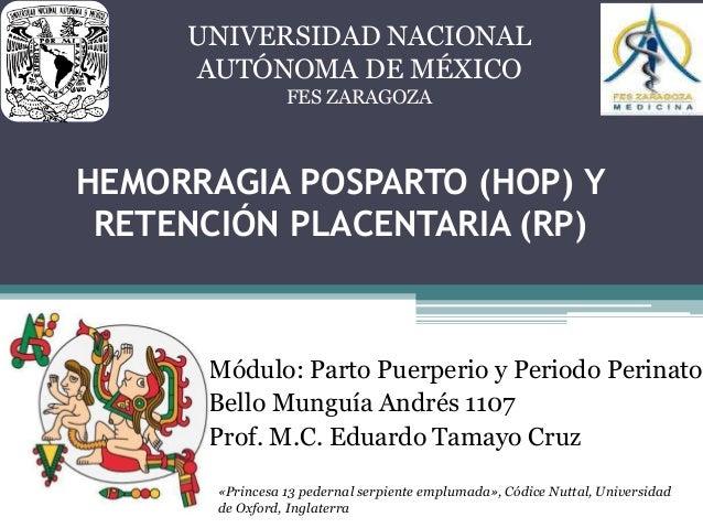 HEMORRAGIA POSPARTO (HOP) Y RETENCIÓN PLACENTARIA (RP) Módulo: Parto Puerperio y Periodo Perinato Bello Munguía Andrés 110...