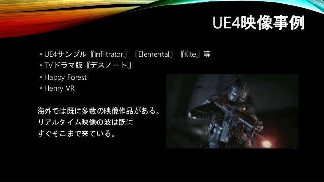 UE4映像事例 ・UE4サンプル『Infiltrator』『Elemental』『Kite』等 ・TVドラマ版『デスノート』 ・Happy Forest ・Henry VR 海外では既に多数の映像作品がある。 リアルタイム映像の波は既に すぐそ...