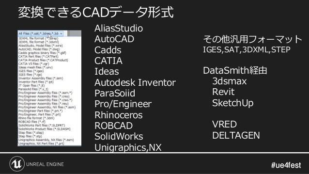 #ue4fest#ue4fest 変換できるCADデータ形式 AliasStudio AutoCAD Cadds CATIA Ideas Autodesk Inventor ParaSoiid Pro/Engineer Rhinoceros R...