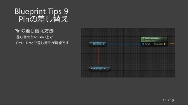 Blueprint Tips 9 Pinの差し替え Pinの差し替え方法 差し替えたいPinの上で Ctrl + Dragで差し替えが可能です 14 / 40