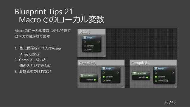 Blueprint Tips 21 Macroでのローカル変数 Macroのローカル変数は少し特殊で 以下の特徴があります 1. 型に関係なく代入はAssign Arrayも含む 2. Compileしないと 値の入力ができない 3. 変数名を...