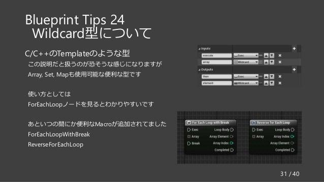 Blueprint Tips 24 Wildcard型について C/C++のTemplateのような型 この説明だと扱うのが恐そうな感じになりますが Array, Set, Mapも使用可能な便利な型です 使い方としては ForEachLoop...