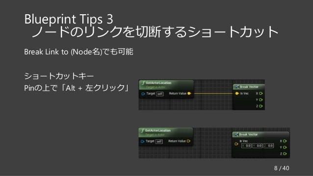Blueprint Tips 3 ノードのリンクを切断するショートカット Break Link to (Node名)でも可能 ショートカットキー Pinの上で「Alt + 左クリック」 8 / 40