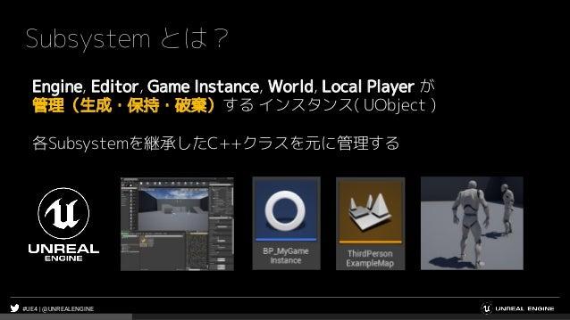 #UE4 | @UNREALENGINE Subsystem とは? Engine, Editor, Game Instance, World, Local Player が 管理(生成・保持・破棄)する インスタンス( UObject ) 各...