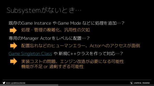 #UE4 | @UNREALENGINE Subsystemがないとき… 既存のGame Instance や Game Mode などに処理を追加…? 処理・管理の複雑化、汎用性の欠如 専用のManager Actorをレベルに配置…? 配置...