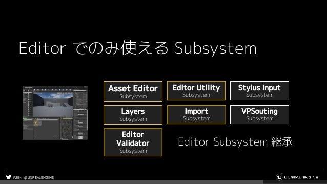 #UE4 | @UNREALENGINE Editor でのみ使える Subsystem Asset Editor Subsystem Editor Utility Subsystem Editor Validator Subsystem Im...