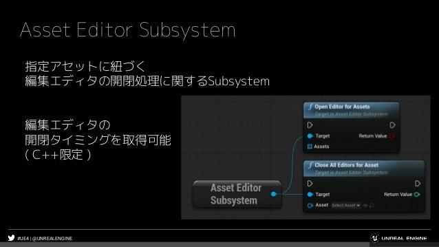 #UE4 | @UNREALENGINE Asset Editor Subsystem 指定アセットに紐づく 編集エディタの開閉処理に関するSubsystem 編集エディタの 開閉タイミングを取得可能 ( C++限定 )