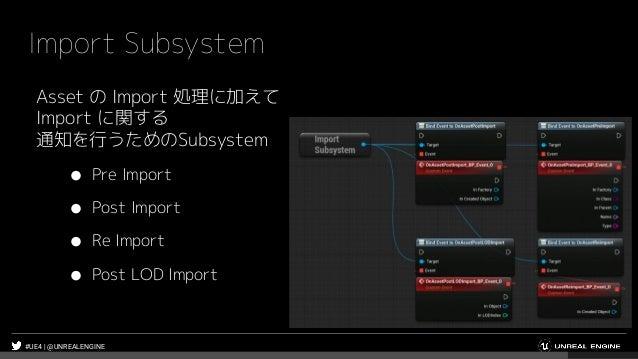 #UE4 | @UNREALENGINE Import Subsystem Asset の Import 処理に加えて Import に関する 通知を行うためのSubsystem ● Pre Import ● Post Import ● Re ...